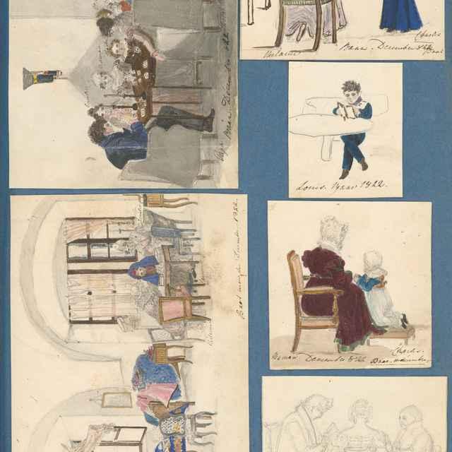 Výjavy z kaštieľa v Hornom Bare. Rodina pri stole v Rusovciach. Melánia Zichy Ferraris pri hre na klavír - Stredoeurópsky maliar z 19. storočia