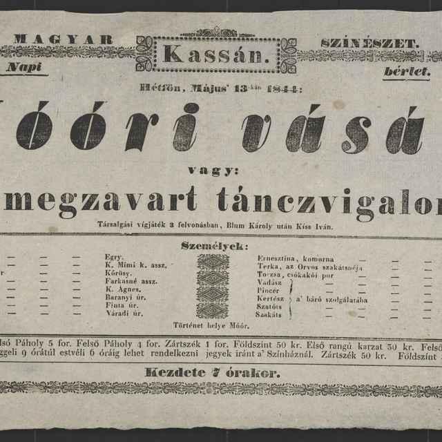 plagát; Móóri vásár, Košice, 13. 5. 1844
