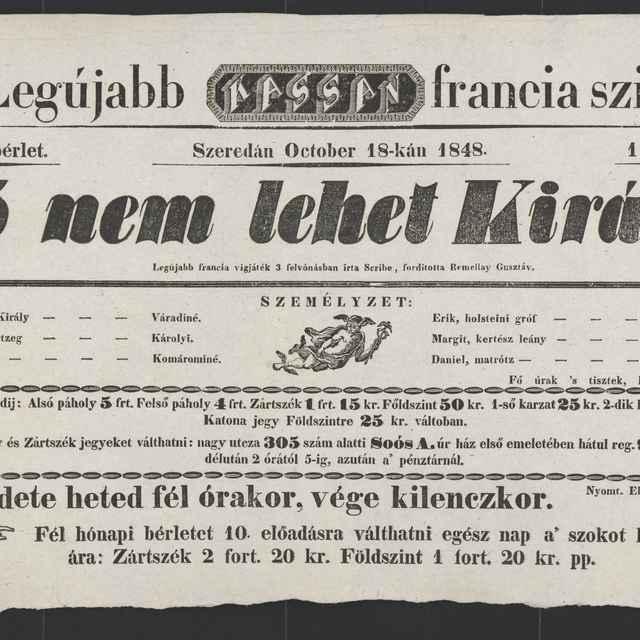 plagát; Nő nem lehet Király, Košice, 18. 10. 1848 - Muzeálny objekt