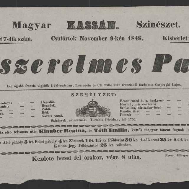 plagát; A szerelmes Pap, Košice, 9. 11. 1848