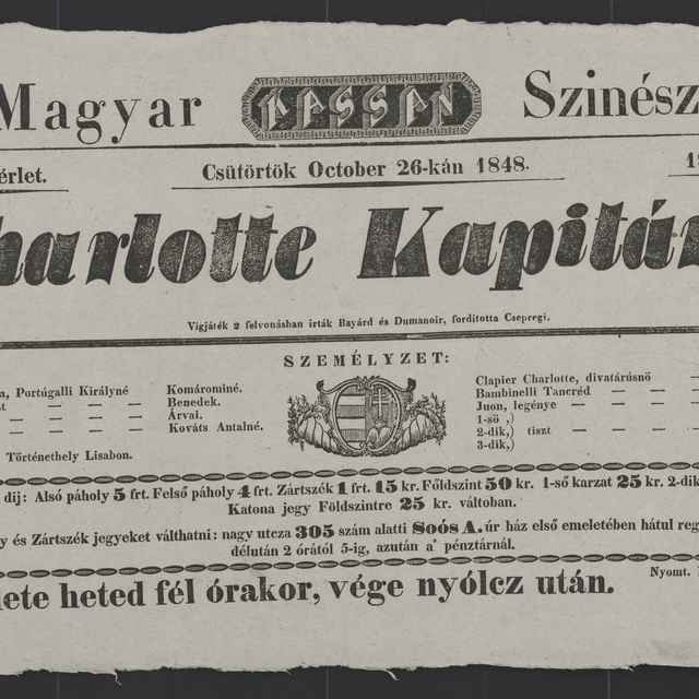 plagát; Charlotte Kapitány, Košice, 26. 10. 1848