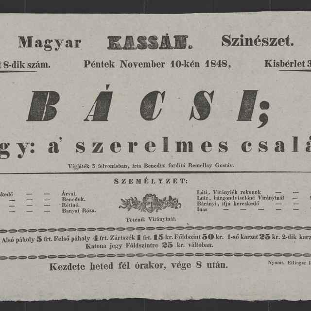 plagát; Bácsi; vagy: a´szerelmes család, Košice, 10. 11. 1848