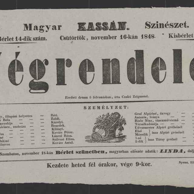 plagát; Végrendelet, Košice, 16. 11. 1848