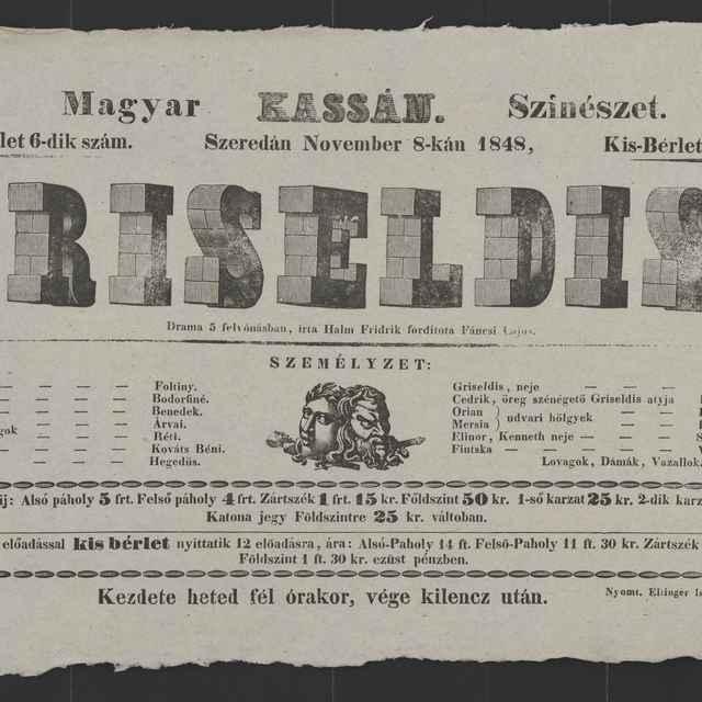 plagát; Griseldis, Košice, 8. 11. 1848