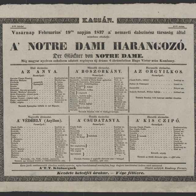 plagát; A´Notre Dami Harangozó, Košice, 19. 2. 1837