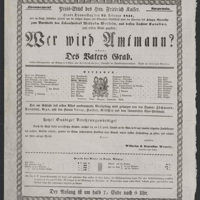 plagát; Wer wird Amtmann? oder: Des Vaters Grab, Košice, 25. 2. 1841