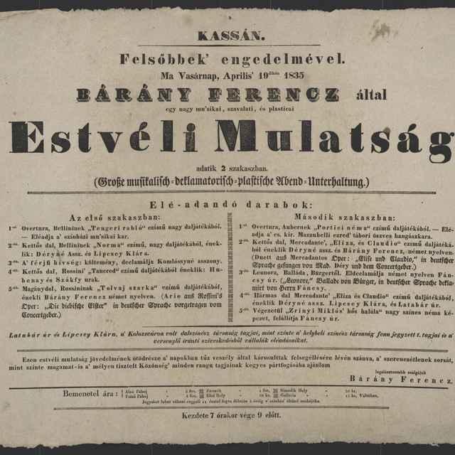 plagát; Estvéli Mulatság, Košice, 19. 4. 1835