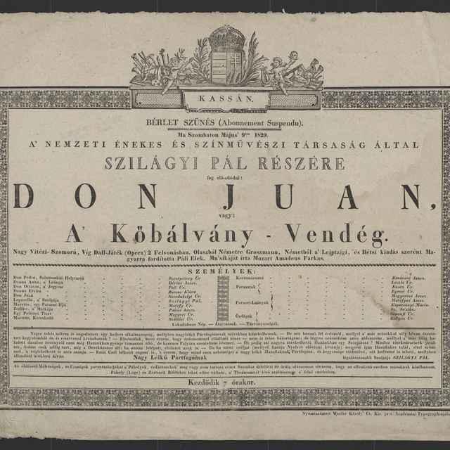 plagát; Don Juan, Košice, 9. 5. 1829