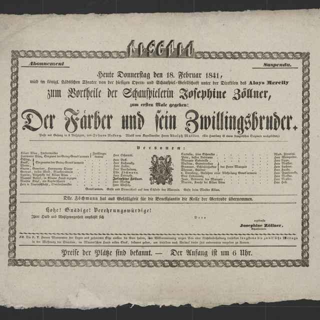 plagát; Der Färber und sein Zwillingsbruder, Košice, 18. 2. 1841