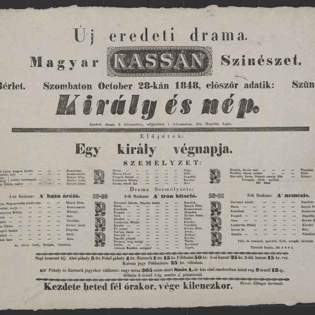 plagát; Király és nép, Košice, 28. 10. 1848