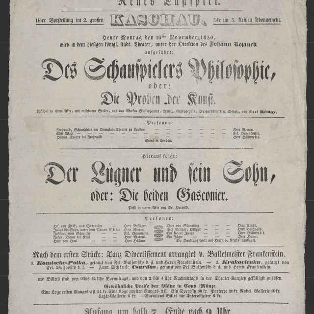 plagát; Des Schauspielers Philosophie, Der Lügner und sein Sohn, Košice, 18. 11. 1850