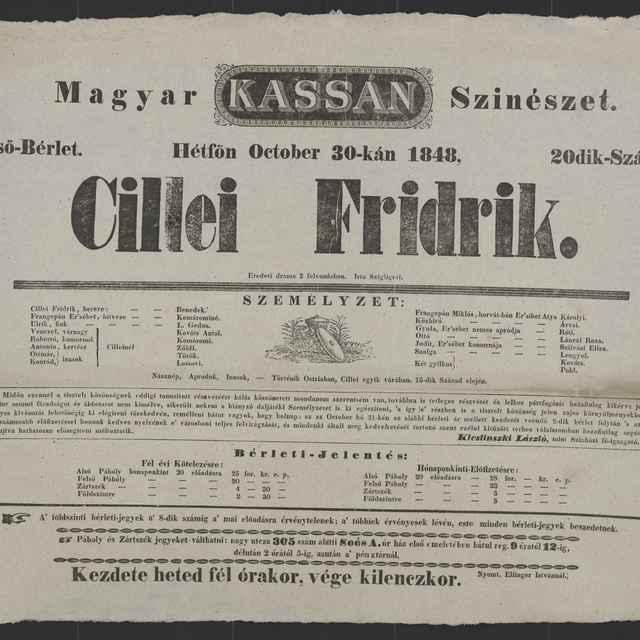 plagát; Cillei Fridrik, Košice, 30. 10. 1848