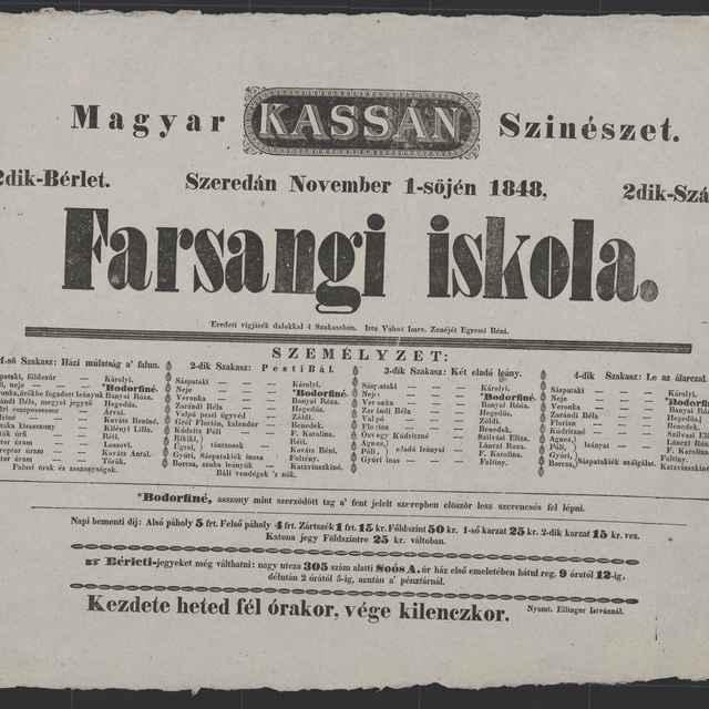 plagát; Farsangi iskola, Košice, 1. 11. 1848