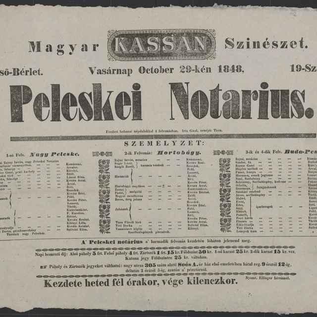 plagát; Peleskei Notarius, Košice, 29. 10. 1848