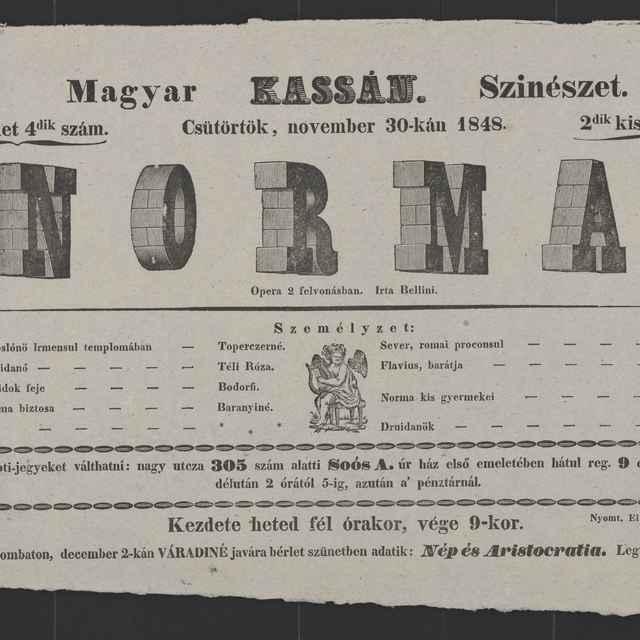 plagát; Norma, Košice, 30. 11. 1848 - Muzeálny objekt