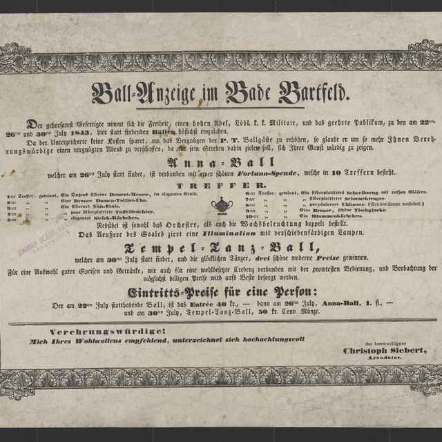 plagát; Ball=Anzeige im Bade Bartfeld, Bardejovské Kúpele, 22., 26., 30. 7. 1843