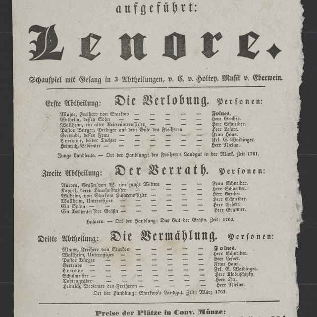 plagát; Lenore, Košice, 9. 10. 1852