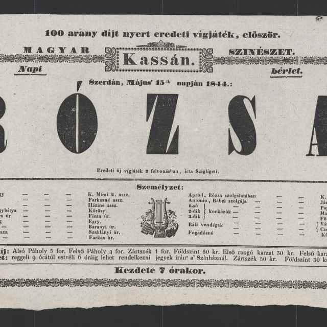 plagát; Rózsa , Košice, 15. 5. 1844