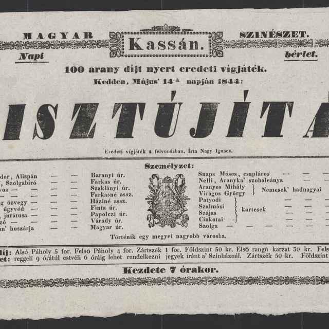 plagát; Tisztújítás, Košice, 14. 5. 1844