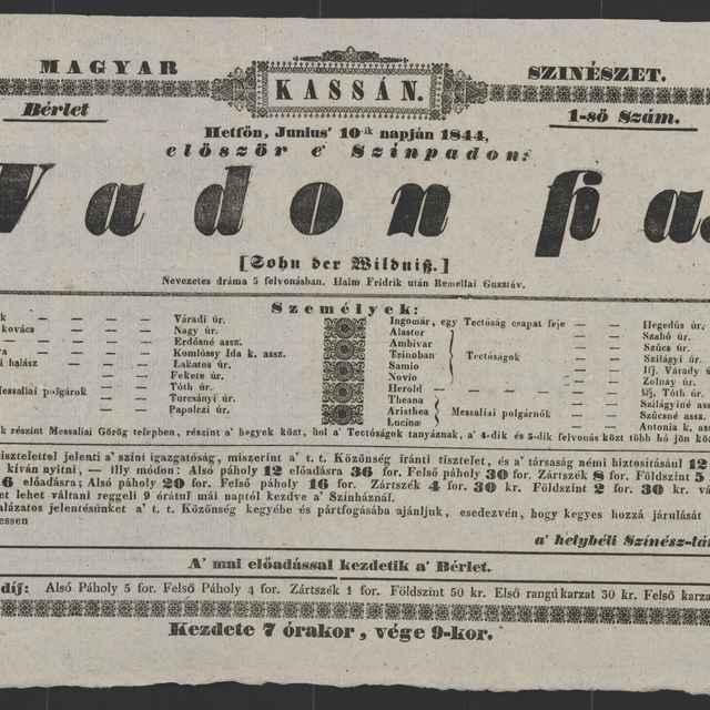 plagát; Vadon fia / (Sohn der Wildis), Košice, 10. 6. 1844