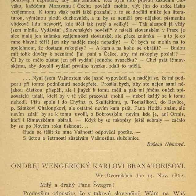 ONDREJ WENGERICKÝ KARLOVI BRAXATORISOVI. - Fl., Kleinschnitzová
