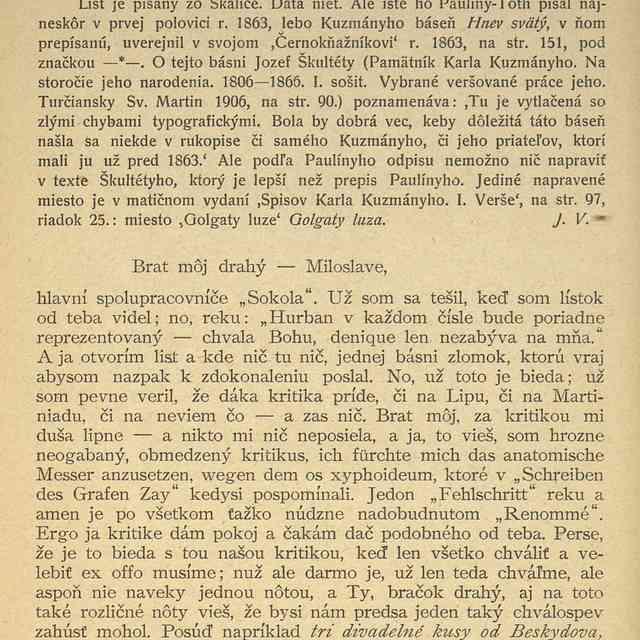 VILIAM PAULÍNY-TÓTH JOZEFOVI MILOSLAVOVI HURBANOVI. - ,