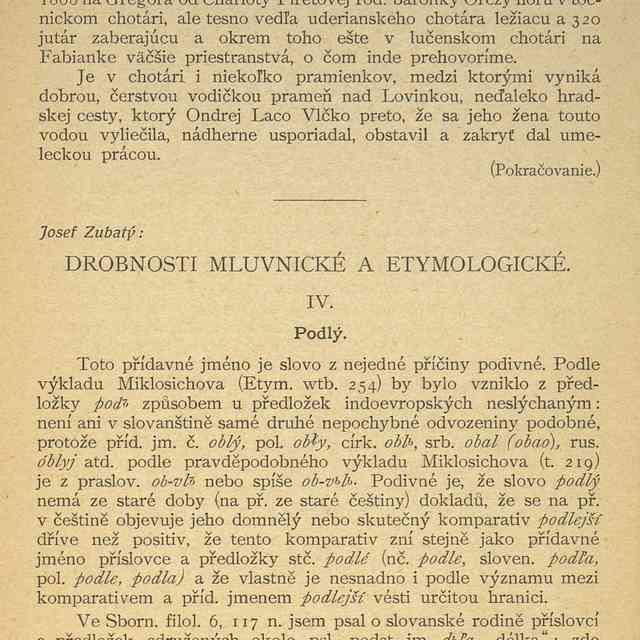 DROBNOSTI MLUVNICKÉ A ETYMOLOGICKÉ. - Zubatý, Josef