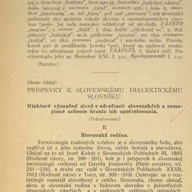 PRÍSPEVKY K SLOVENSKÉMU DIALEKTICKÉMU SLOVNÍKU. : - Vážný, Václav