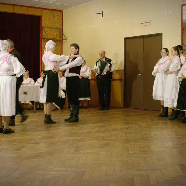 Vinše pri príchode zo sobáša a svadobné tance Valc, Grünes gras, Sprautjetl