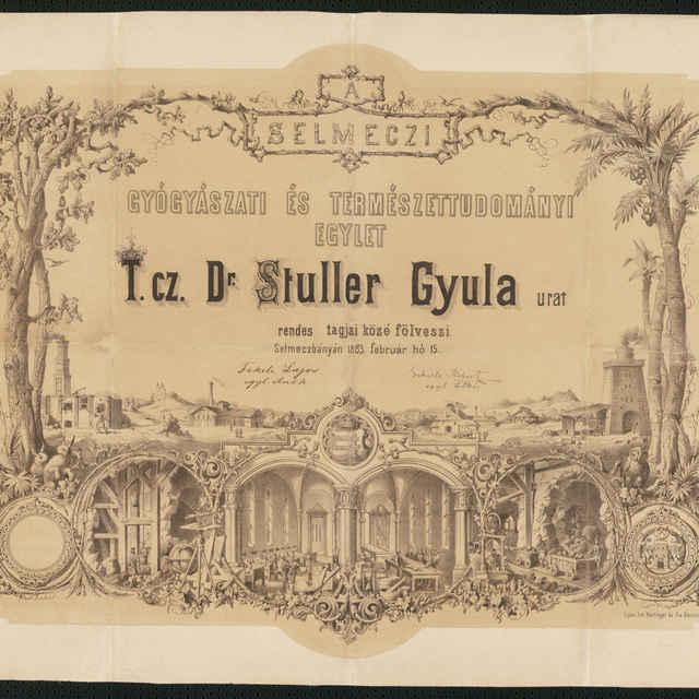Diplom Banskoštiavnickej lekárskej a prírodovednejspoločnosti pre Dr. Stulera Gyula, litografia, 1883 - neznámy (osobné meno)
