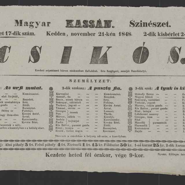 plagát; Csikós, Košice, 21. 11. 1848