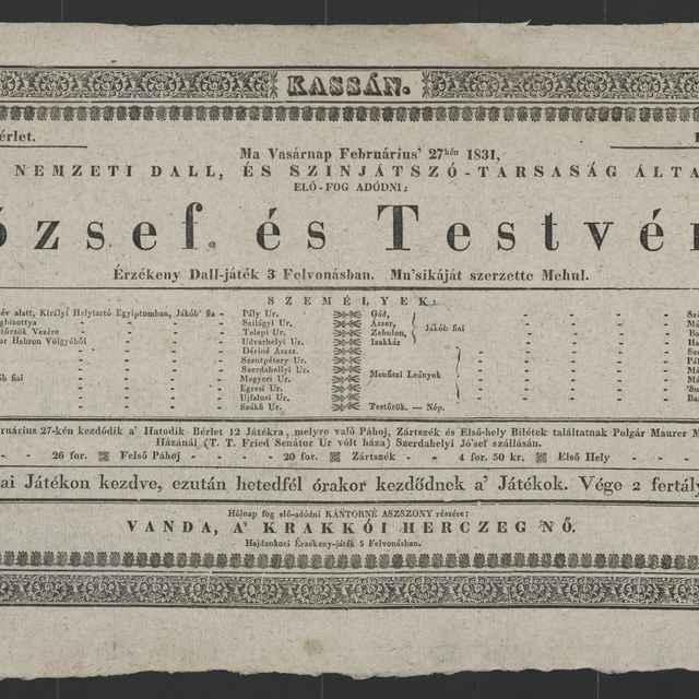 plagát; József, és Testvére, Košice, 27. 2. 1831