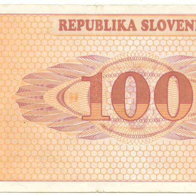 Bankovka 100 tolarjev (krajina, fauna)