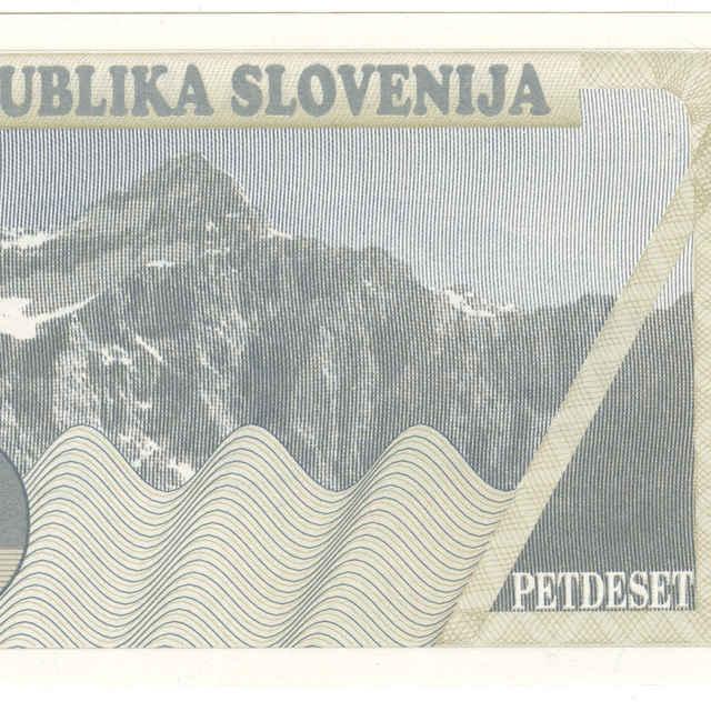 Bankovka 50 tolarjev (krajina, fauna)