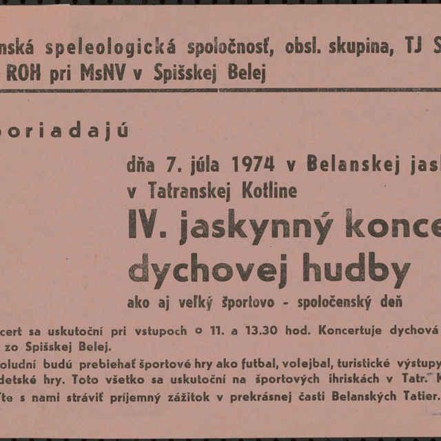 <u>Plagát</u> &quot;Jaskynný koncert dychovej hudby v Belianskej <u>jaskyni</u> 1974&quot;