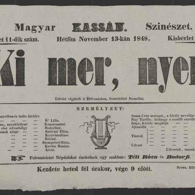 plagát; Ki mer, nyer, Košice, 13. 11. 1848