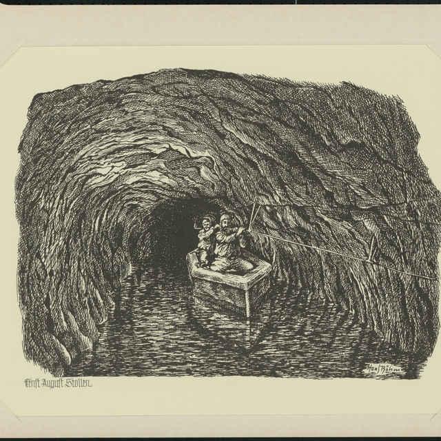 Grafický list - rozmnoženina: Štôlňa Ernesta Augusta,autor: Hans Böhm, 19./20. storočie - Böhm, Hans