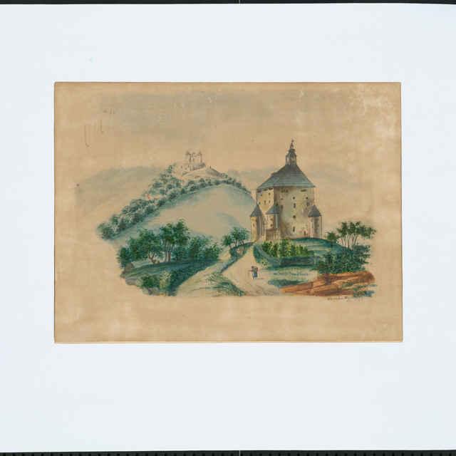 Akvarel, Pohľad na Nový zámok a Kalváriu, autor: Hermien I., 1858 - Hermien, I.