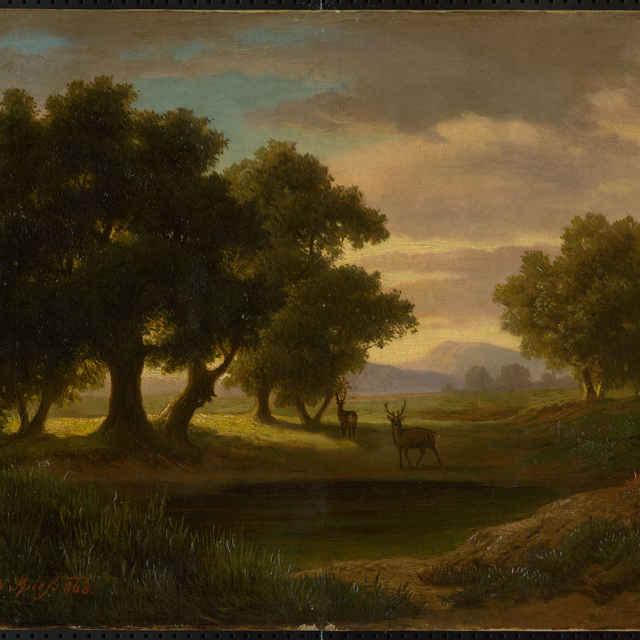 Večerná krajina s jeleňmi - neznámy (osobné meno)