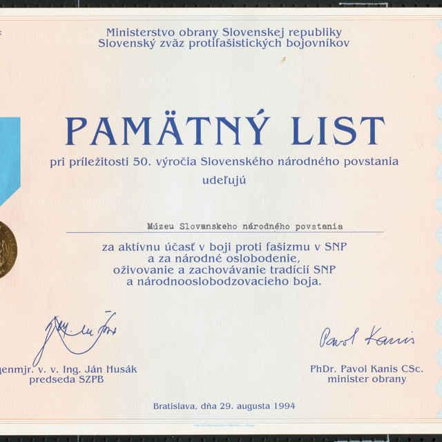 Pamätný list k 50. výročiu SNP - Muzeálny objekt