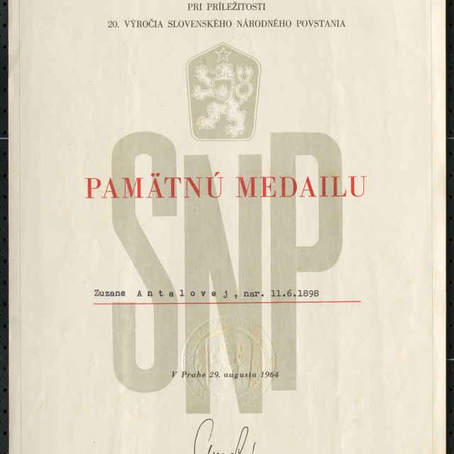 Dekrét k PM 20. výročia SNP - Muzeálny objekt