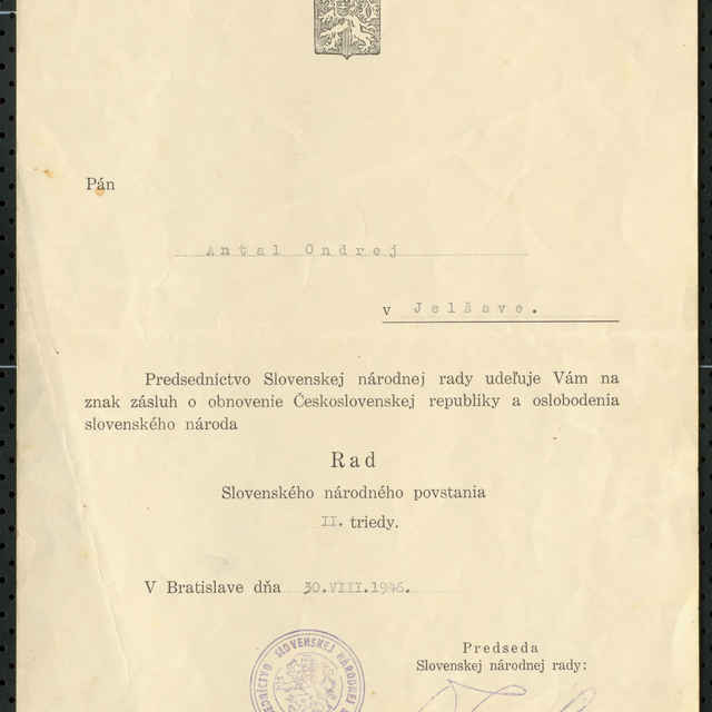 Dekrét k radu SNP II. trieda