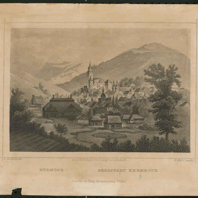 Grafický list, Kremnica, autor: L.Rohbock, oceľorytina, polovica 19. storočia - Rohbock, Ľudovít