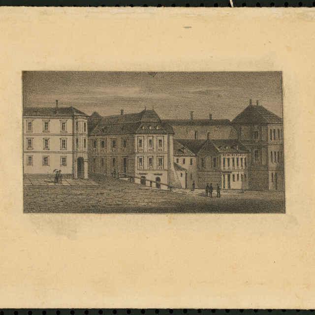 Grafický list, Ľavá strana námestia sv.Trojice s časťou Berggerichtu, Szitnayovským domom, litografia, 1861 - Stoufs, Josef