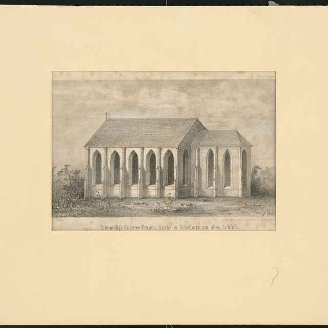 Tlač z kresby, Gotický halový kostol P.Márie v Banskej Štiavnici, autor: S.Czérny, 1855 - Czérny, S.