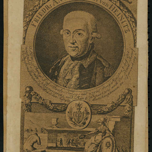 Reprodukcia, Portrét Fridricha Antona Freyha von Heinitza, litografia - neznámy (osobné meno)
