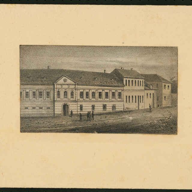Grafický list, Kretschmáryovský, neskôr Germbov dom v Banskej Štiavnici, litografia - Oberth, Eduard