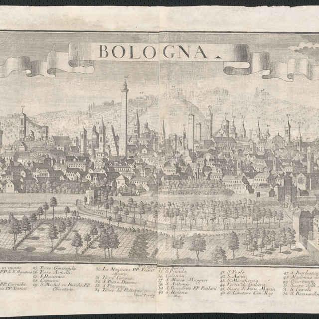 Obraz, Bologna, <u>veduta</u>, autori: Friedrich <u>Bernhard</u> <u>Werner</u>, Johann Baltasar Probst, Jeremias Wolff, grafika, r.1730-1750