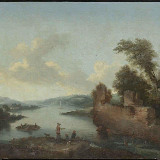 Romantická krajina s rybármi - neznámy (osobné meno)