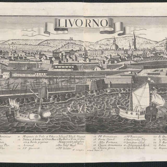Obraz, Livorno, <u>veduta</u>, autori, Friedrich <u>Bernhard</u> <u>Werner</u>, Georg Balthasar Probst, Jeremias Wolff, grafika, r.1730-1760